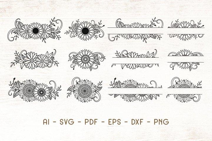 Decorative Sunflower - Sunflower Split Monogram SVG - Vector