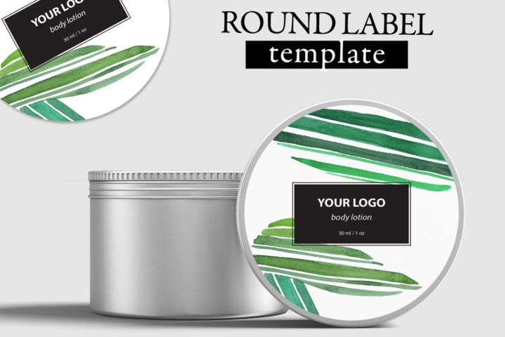 Round label design editable layer template PSD