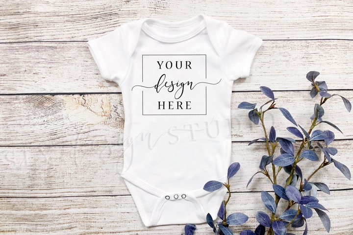 Rustic White Onesie Mockup Farmhouse w/Purple Plants Simple