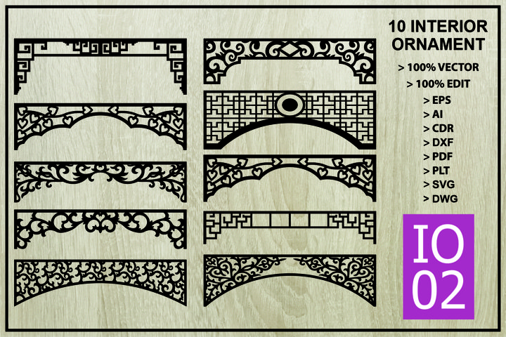 IO 02, 10 Interior Ornament Vector Cutting Crafts