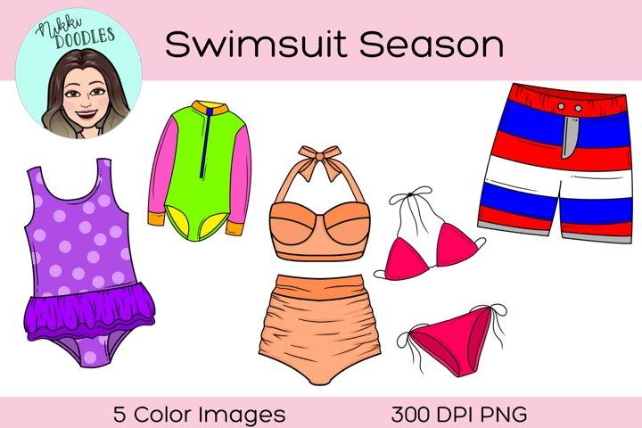 Swimsuit Summer Season Clipart, Digital Sticker, Pool, Swim