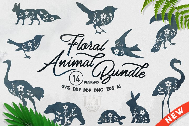 Floral Animal Bundle SVG - 14 SVG Files