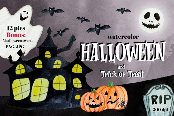 Watercolor Hand Drawn Halloween Set and Bonus