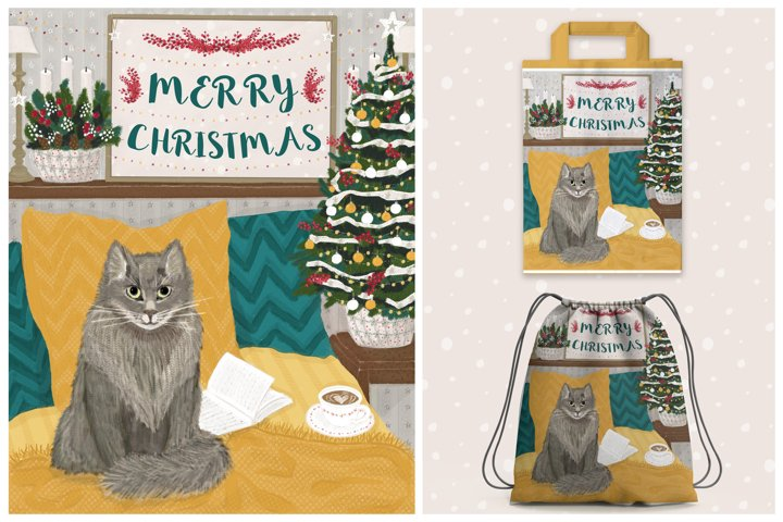 Merry Christmas greeting postcard with cat