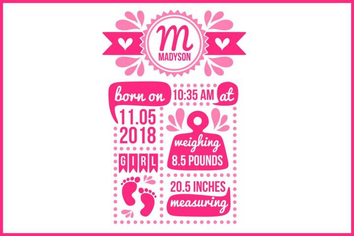 Birth stats svg, birth stats template, birth announcement