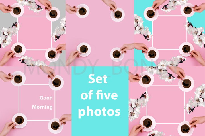 Set of five photos, frame for text white flowers of coffee
