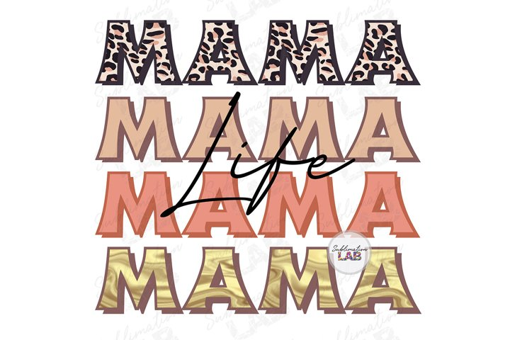Mama Life Sublimation Design Retro Leopard Mothers Day Png