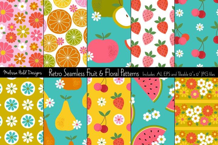 Seamless Retro Fruit & Floral Patterns
