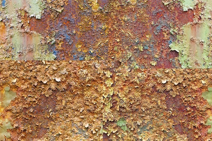 Texture of metal corrosion, collection.