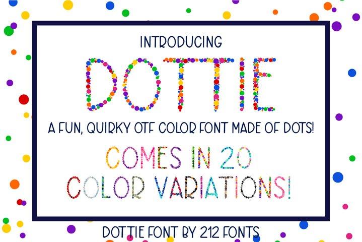 Dottie Color OTF SVG Font Family in 20 Color Variations