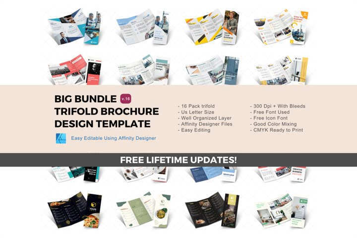 Update! Bundle 16 trifold brochure design templates