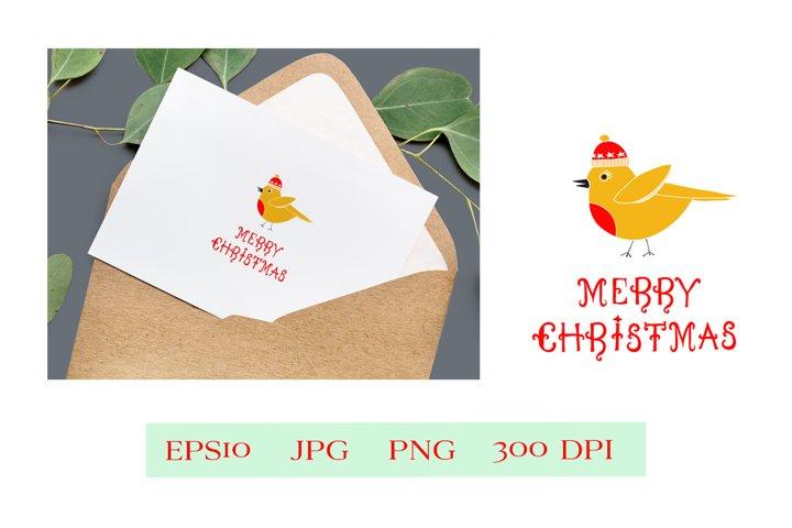 Merry Christmas Cute Bird for Christmas Greeting Card