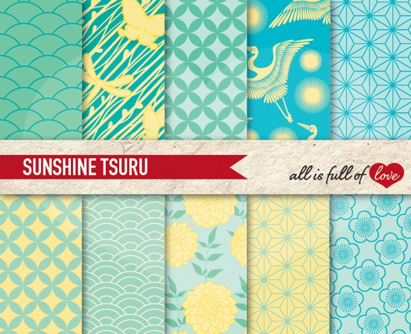 Japanese Summer Graphics Mint Green, Yellow and Turquoise Digital Background Patterns