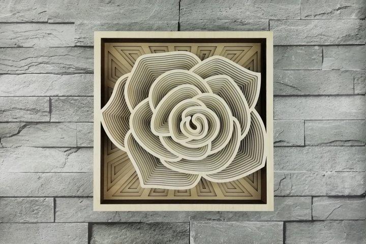 Layered Mandala SVG, Laser cut file Mandala, 3D Rose