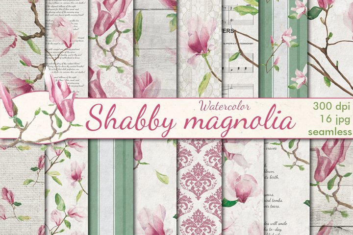 Watercolor shabby Magnolia seamless patterns