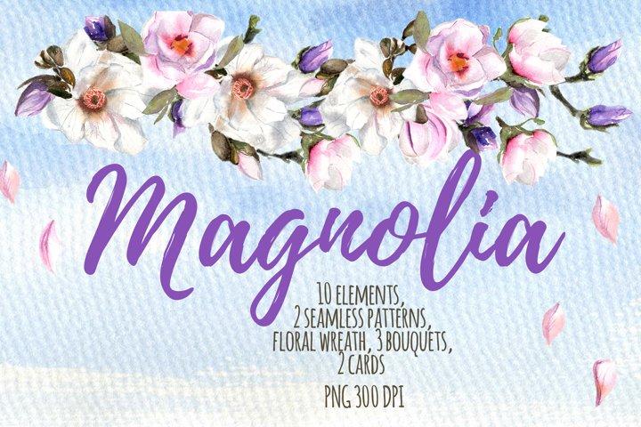 Magnolia watercolor clipart