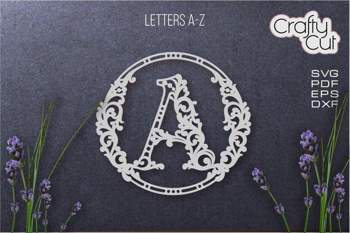 Initial monogram letters. Fancy floral alphabet letter.