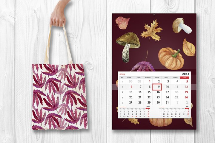 Watercolor autumn seamless patterns collection.