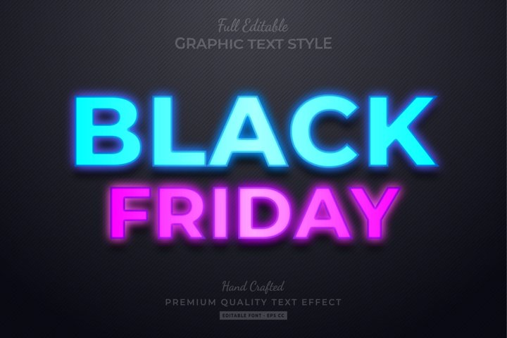 Black Friday Neon Editable Text Style Effect Premium