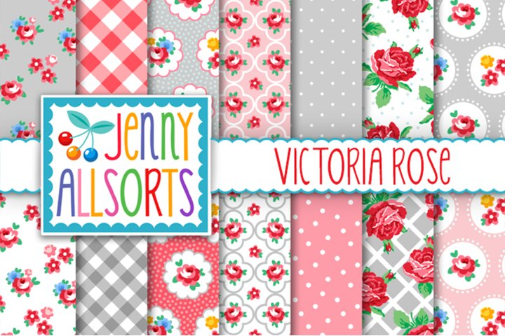 Shabby Chic Rose Papers - Pink & Grey - Victoria Rose