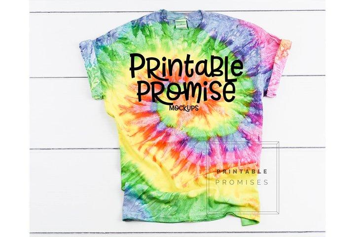 Tie Dye Cd100 Eternity T Shirt Mock Up Shirt Flatlay Mockup