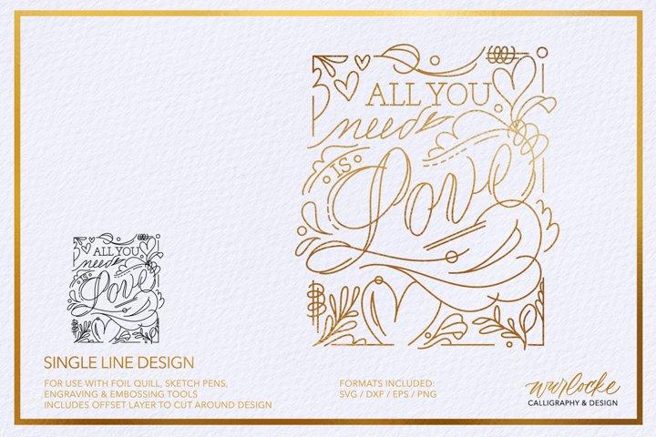 SVG Foil Quill Valentines Quote Single Line Design