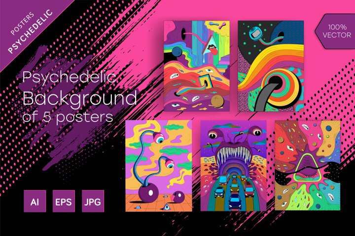 Psychedelic Background of 5 posters