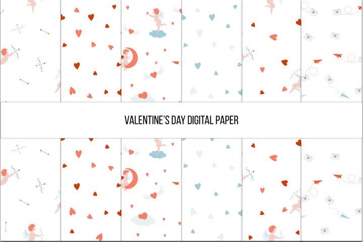 Valentines Day Digital paper, Seamless Pattern