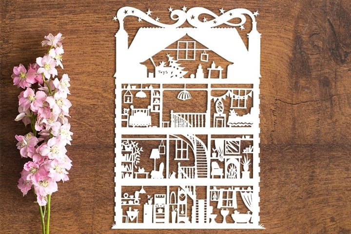 Dolls House - PDF Template for Paper Cutting by hand