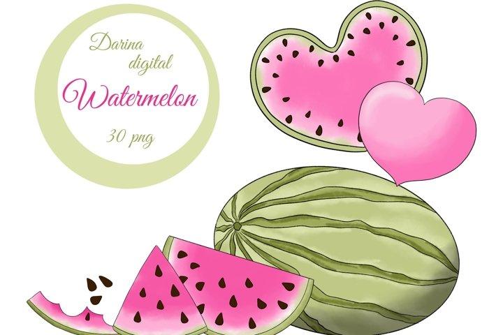 Pink watermelon clipart