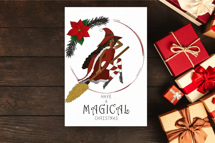 Christmas of Witches - Unique Digital Christmas Card, Witch