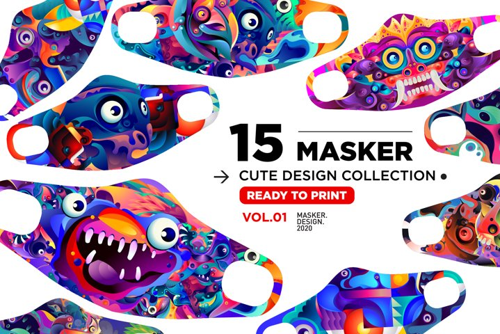 Cute Masker Design & Mockup - Ready to print on fabric