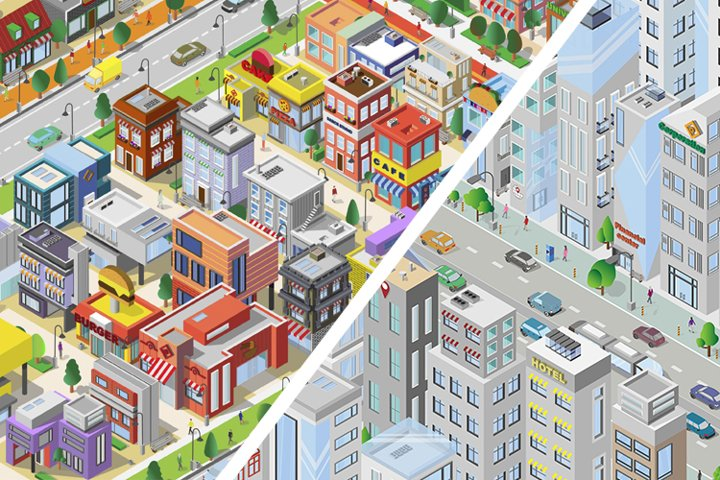 City. isometric map. Architecture. Megapolis downtown. Icons