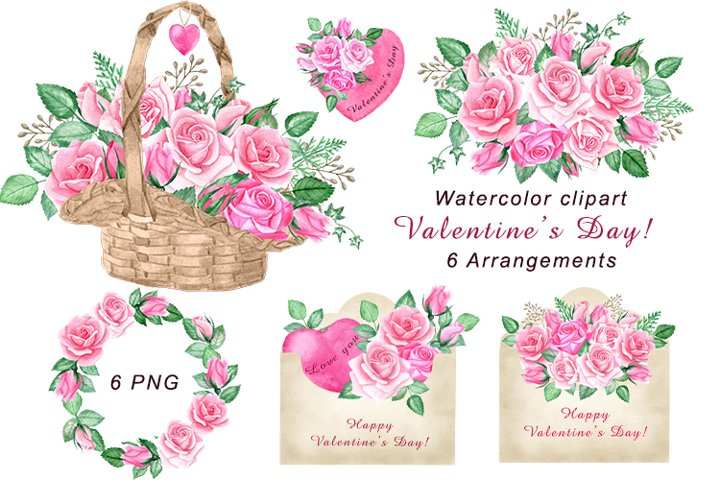 Valentines day watercolor clipart. Love letters,basket png