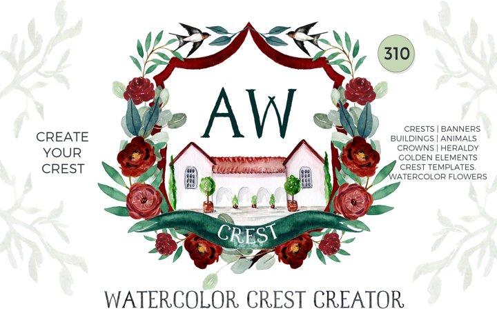 Watercolor Crest Crestor. Wedding Clipart