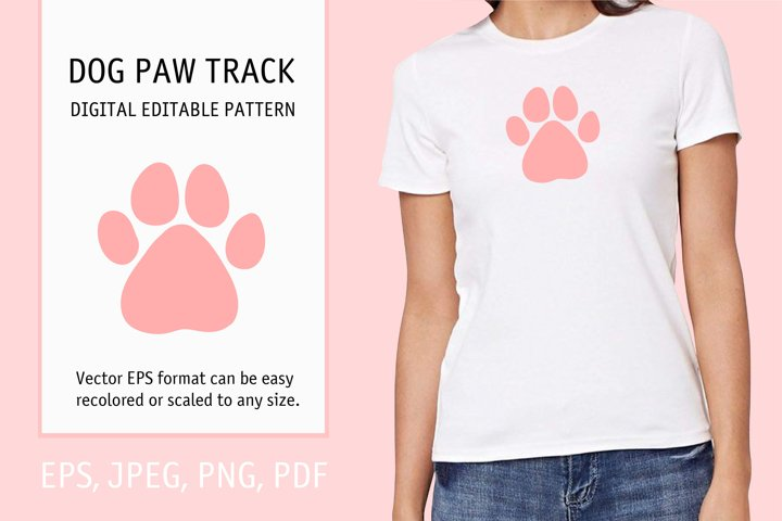 T shirt or tote bag print. Pink dog or cat paw.