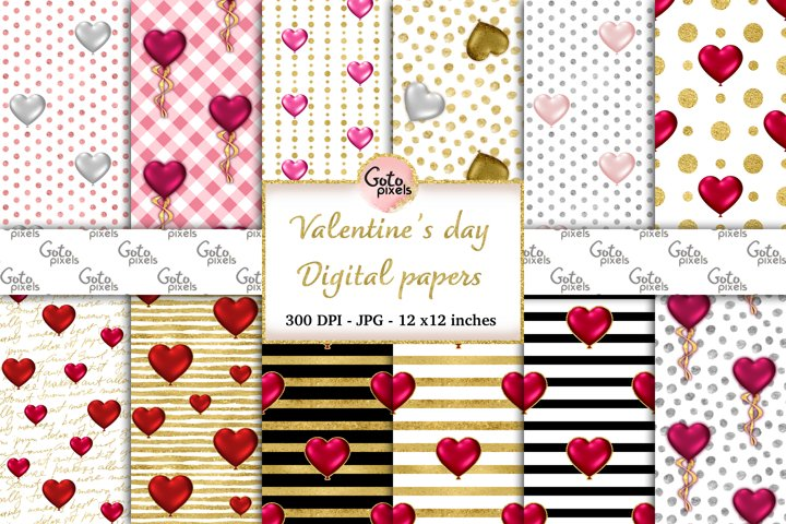 Valentine day Digital Paper-heart balloons seamless Pattern