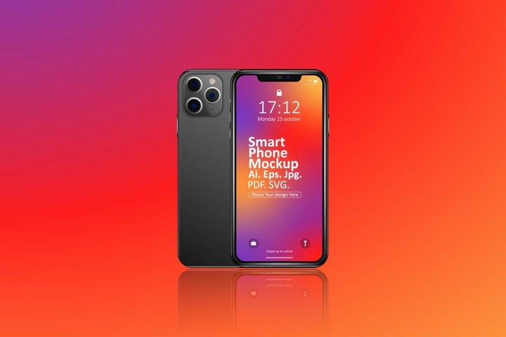 Smartphone Mockup Vector Design. Modern Trendy Mobile Phone.