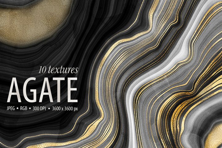 10 Agate Stone Digital Papers - Gold Veined Geode Textures