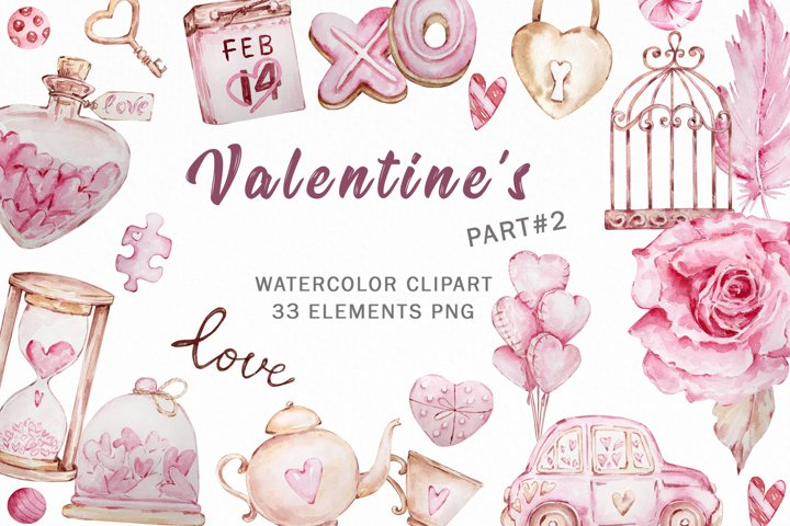Valentines day Watercolor Clipart, Pink Valentines