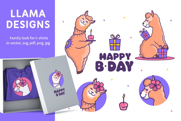 Happy Llamas for cloth desings