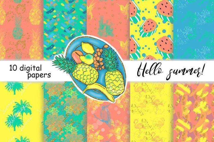 Hello Summer PATTERN Summer Diy Clipart Digital Paper - JPEG