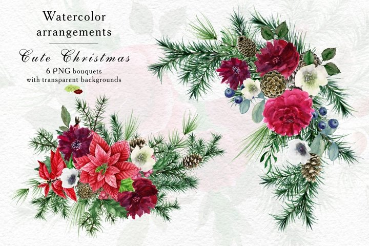 Christmas watercolor PNG bouquets, Peony, floral winter PNG