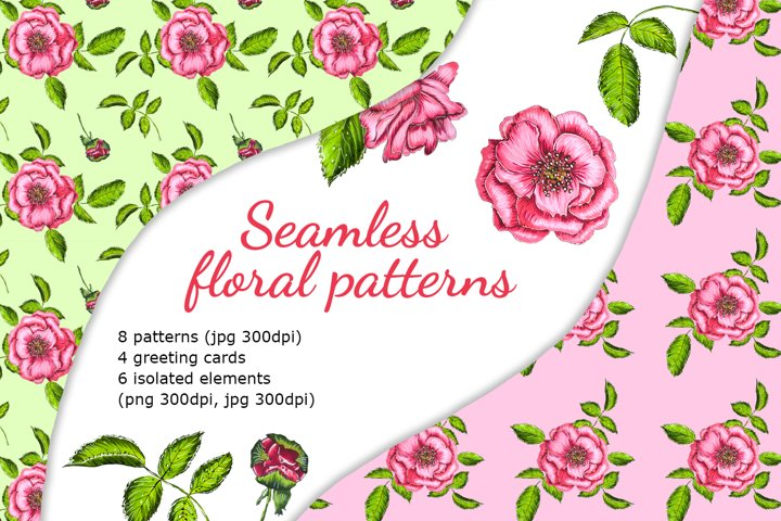 Floral seamless patterns and greeting cards