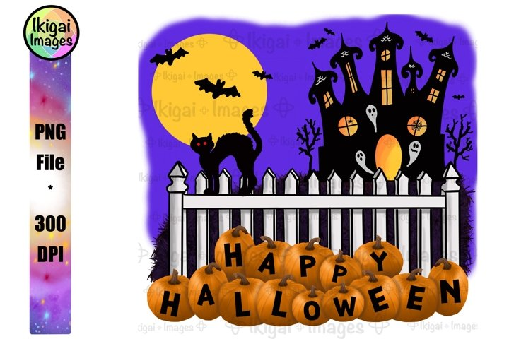 Happy Halloween Sign, Haunted House Scene, PNG Sublimation