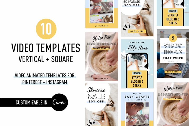 ANIMATED Video Templates Pinterest & Instagram Pack | Canva