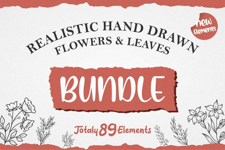 Realistic Hand Drawn Flowers & Leaves. 89 Elements