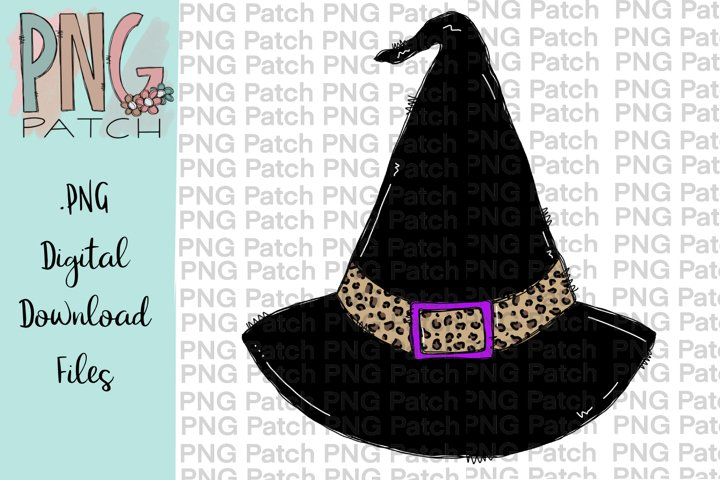 Witch Hat with Leopard Print, Halloween PNG File