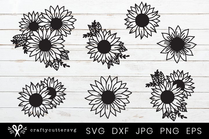 Sunflower Svg Bundle | 7 Sunflowers Designs Cut File Cricut