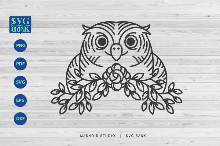 Owl SVG, Owl Paper cut, Owl With Flower Cut file dxf eps png